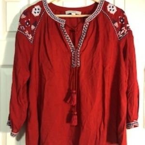 Loft Size XS Red Tunic Top with Embroidery